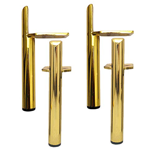 YLL Furniture Legs, Heavy Duty Cabinet Cupboard Chair Table Metal Feet with Mounting Screws,Perfect for TV/Sofa/Bench/Kitchen/Bed Feet Replacement, Easy To Install Set of 4,gold,13cm/5in