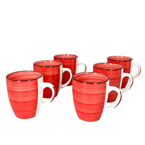 MamboCat Chrissi 6-er Kaffee-Becher-Set Weihnachten Rot I Steingut-Tasse groß mit Strudel-Dekor - in tollem Rotton I große Jumbo-Tee-Tasse - Tea & Coffee Mug I 300 ml Kaffee-Tassen-Set groß 6 Stück
