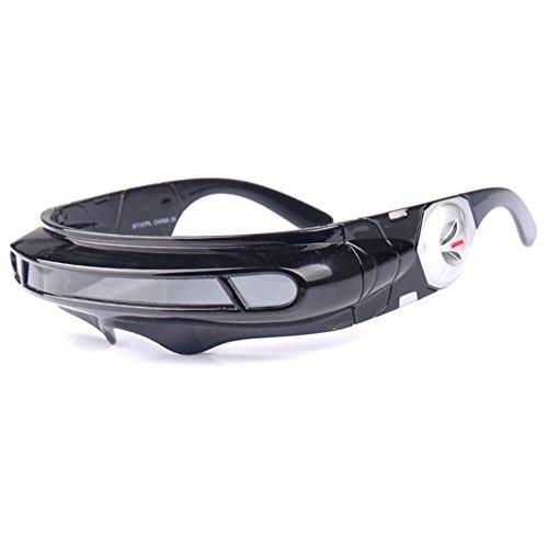 Futuristic Cyclops Monoblock Shield Mirrored Polarized Sunglasses UV400 (Black, Gray)