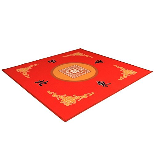 """THY COLLECTIBLES Universal Mahjong / Paigow / Card / Game Table Cover - Red Mat 31.5"""" x 31.5"""" (80cm x 80cm)"""