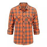 Yousiju Camisa informal a cuadros para hombre, camisa de franela Otoño Invierno, camisas de vestir para hombre, camisa de manga larga ajustada, camisa de algodón para hombre