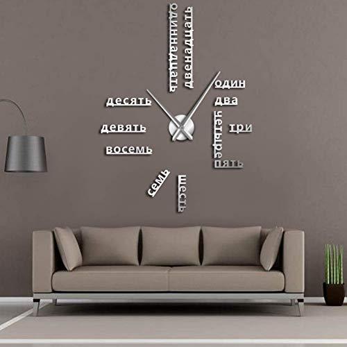 RRBOI Numéros de Langue sans Cadre Bricolage Grande Horloge Murale Langues étrangères Wall Art Room Decor Temps Horloge Cadeau pour Professeur étranger-37inch(Argent)