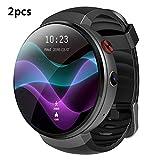 ZUKN Smartwatch 4G con podómetro Pulsera Inteligente con Monitor de Ritmo cardíaco 1GB + 16GB 2MP Cámara SIM WiFi GPS para Hombres Mujeres Reloj Inteligente para Android/iOS 2Pcs,B