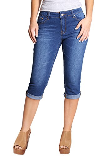 2LUV Women's Stretchy 5 Pocket Skinny Capri Jeans Denim Medium 1