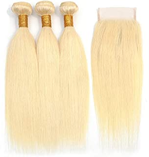 JGMI 613 Platinum Blonde Human Hair Bundles with Closure Brazilian Virgin Hair Straight Bundles with Lace Closure (12 12 12+10closure, bundles with closure)
