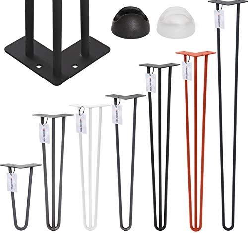HOLZBRINK Haarnadel Tischbein 12 mm, 2-Stangen Bein, Hairpin Leg aus Stahl, 30 cm, Rohstahl mit Klarlack, 1 Stück, HLT-12A-30-0000