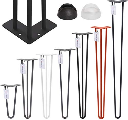 HOLZBRINK Haarnadel Tischbein 12 mm, 3-Stange Bein, Hairpin Leg aus Stahl, 72 cm, Verkehrsweiss, 1 Stück, HLT-13A-72-9016