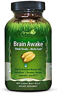 Brain Awake High Performance Booster by Irwin Naturals, B Vitamins and MCT, Think Clearer and Work Faster, 60 Liquid Soft-...