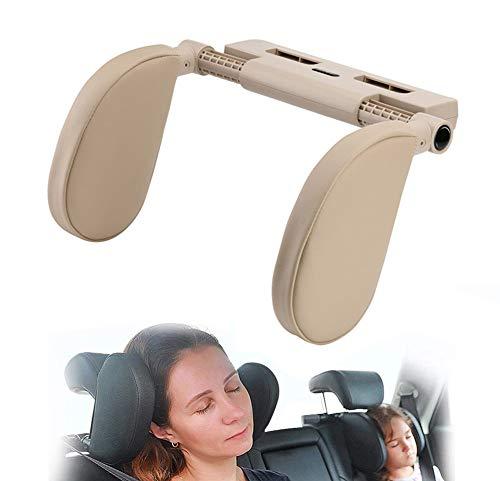 Hopeas Poggiatesta Auto per Bambini Adulti Cuscino Poggiatesta Collo per Auto Regolabile,Supporto per la Testa Laterale in Pelle (Beige)