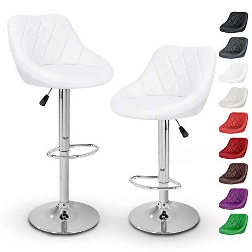 TRESKO Set di 2 Sgabelli-Bar Moderni, Sedia Bar, Sgabello Lounge con Schienale, 10 Colori Diversi, Cromato, Rotazione Libera a 360 °, la Regolazione in Altezza dei sedili 60,0-80,0 cm (2X Bianco)