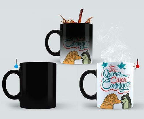 Taza mágica Personalizada/Taza mágica con Foto y Texto/Taza de cerámica, Muestra tu Foto o diseño al calentarse/Regalo Original/Taza mágica con Foto