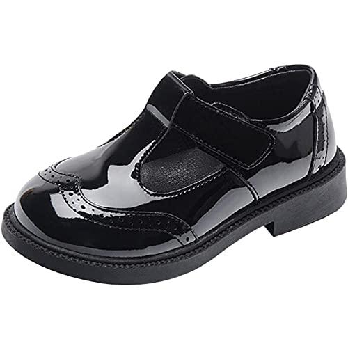PPXID Zapatos para niña T-Strap Mary Jane de charol de piel para la escuela, Negro , 26 EU