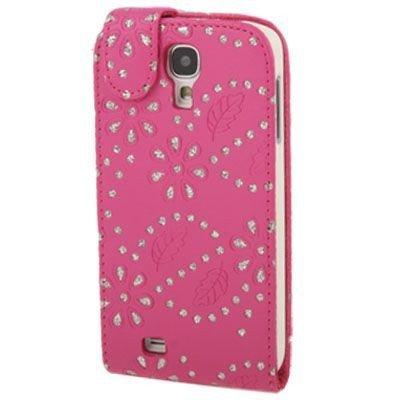 Etui de téléphone portable Coque Samsung i9500 Galaxy S4 Business Case Smartphone Case strass scintillants clignotant flip brillant de mode chic fleur rose foncé motif floral