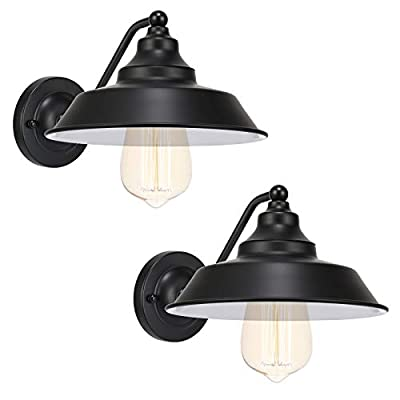 Black Classic Industrial Farmhouse Vintage Wall Sconce Oil Rubbed Balck Finish Wall Lamp Hardwired E26 Wall Lighting Fixtures for Lobby Hallway Kitchen Living Dining Room Restaurant Set of 2