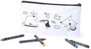 DISOK Pennenetui voor het inkleuren van kinderen, 5 kleuren, inclusief waxschilders, voor het inkleuren van kinderen, knut...