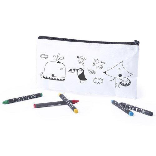 DISOK Estuche para Colorear Infantil con 5 Pinturas Ceras Incluidas - Estuches para Colorear Niños Infantiles Manualidades con Pinturas para Pintar Cumpleaños, Fiestas de Colegios