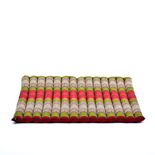 Leewadee colchoneta de meditación Zabuton – Cojín de Suelo Cuadrado, Asiento tailandés de Yoga Hecho de kapok ecológico, 69 x 78 cm, Rojo Verde