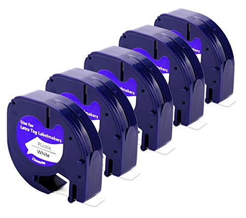 Compatible Label Tape for DYMO LetraTag Refills 91331(91201 S0721660)Black on White Plastic Tape for DYMO Label Machine LT-100H LT-100T QX50 Label Maker 1/2 Inch x 13 Feet(12mm x 4m),5-Pack