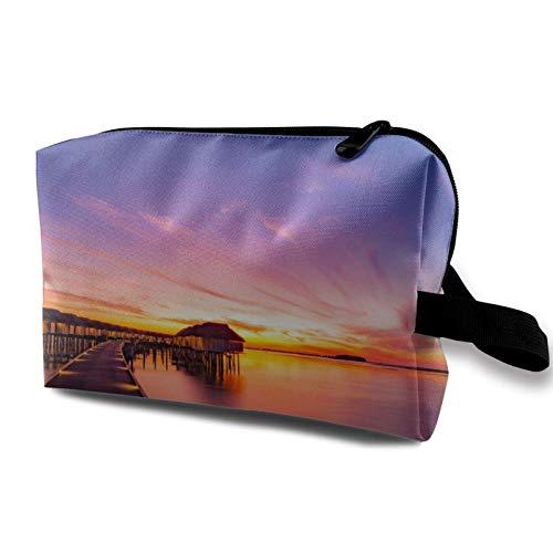 XCNGG Reise Make-up Aufbewahrungstasche Tragbare Toilettenhandtasche Kleine Kosmetik-Organizer-Tasche für Frauen & Männer Schöner Himmel und Wolken und Strand