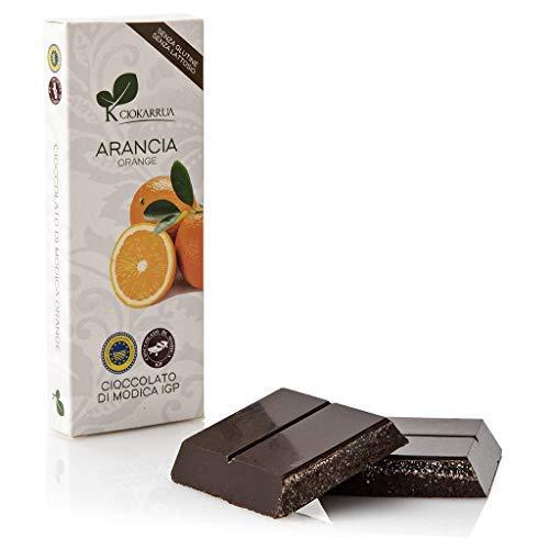 Ciokarrua | Cioccolato di Modica Arancia IGP | Cioccolato Grezzo Lavorato Modica | Tavoletta Cioccolato Senza Lattosio | Cioccolata 1 Tavoletta - 100 Grammi