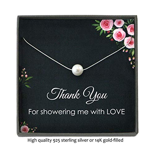 Bridal or Baby Shower Hostess Gift Necklace with Meaningful Message, Floating Pearl