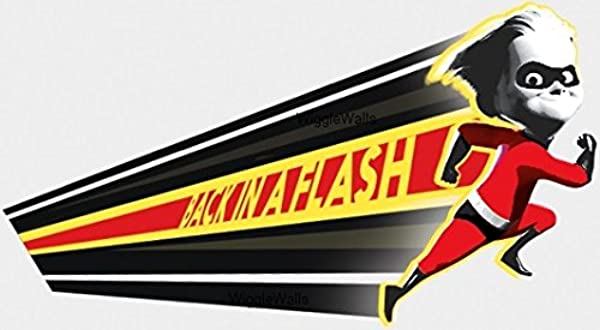 7 Inch Back In A Flash Dashiell Robert Dash Parr Logo Boy Brother Incredibles 2 Movie Removable Peel Self Stick Wall Decal Sticker Art Bathroom Kids Room Walt Disney Pixar Home Decor 7 By 3 1 Inches