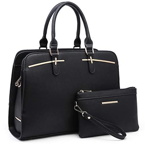 Dasein Women Satchel Handbag Shoulder Purse Top Handle Work Bag Tote Bag With Matching Wallet (Black)