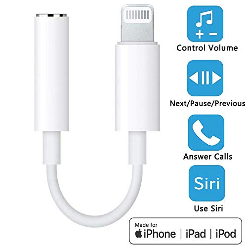 WIKIPro Lightning to Headphone Jack Adapter Dongle [ MFi Certified ] Earbuds Headphone Converter for Apple iPhone XR/Xs/Xs Max/X/8/8Plus 7/7Plus,Music Control,Calling&Siri Supported