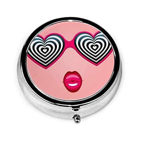 JOJOshop - Pastillero redondo con forma de corazón para gafas de sol