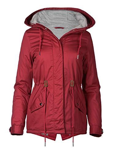 Trisens Damen Jacke Übergangsjacke Kapuze 100% Baumwolle leicht Mantel Kurz, Farbe:Rot, Größe:XXL