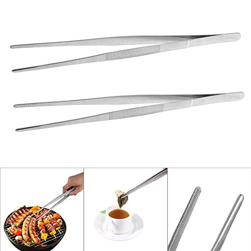 BETT Pinces à épiler - Ustensiles de Cuisine Précision Acier Inoxydable Argent Long Food Tongs Straight Home Medical Tweezer (2PCS)