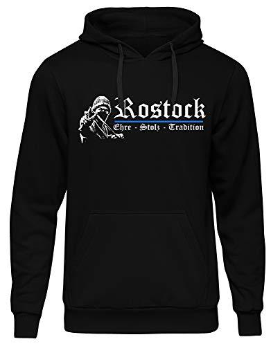 Rostock Ehre & Stolz Männer und Herren Kapuzenpullover | Fussball Ultras Geschenk | M1 FB (Schwarz, XXL)