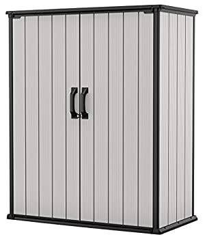 Keter Premier Tall Resin Outdoor Storage Shed with Shelving Brackets for Patio Furniture Pool Accessories and Bikes Grey & Black