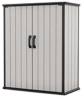 Keter Premier Tall Resin Outdoor Storage Shed with Shelving Brackets for Patio Furniture, Pool Accessories, and Bikes, Grey & Black (B083PKMZFZ) | Amazon price tracker / tracking, Amazon price history charts, Amazon price watches, Amazon price drop alerts