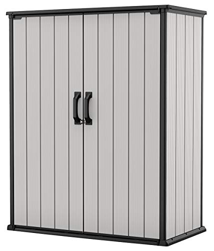 KETER Premier Tall Resin Outdoor Storage Shed with Shelving Brackets for Patio Furniture, Pool Accessories, and Bikes, Grey & Black