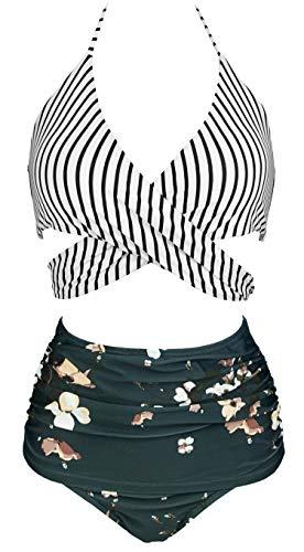 COCOSHIP Black White Striped & Bloom Floral Retro Ruched High Waist Bikini Set Cross Push Up Sport Tie Back Bath Swimwear 14