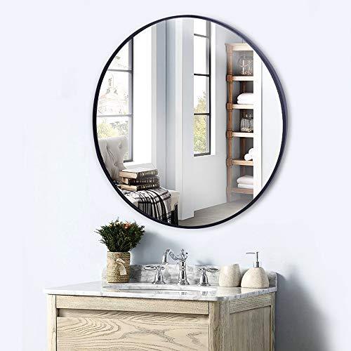 Hosoncovy 30 cm metallram rund väggspegel badrumsspegel hängande spegel sminkspegel dekorativ spegel full längd spegel för badrum vardagsrum sovrum heminredning (svart)