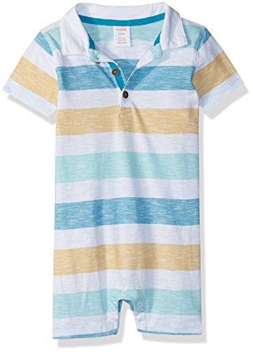 Gymboree Boys' Toddler 1-Piece Polo Bodysuit, Pool Blue Stripe, 12-18 mo