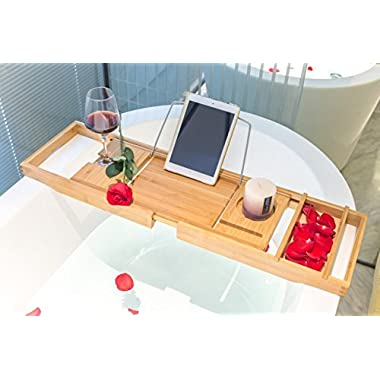BAMBUROBA Bathtub Caddy Tray Bamboo Organizer with Extending Sides