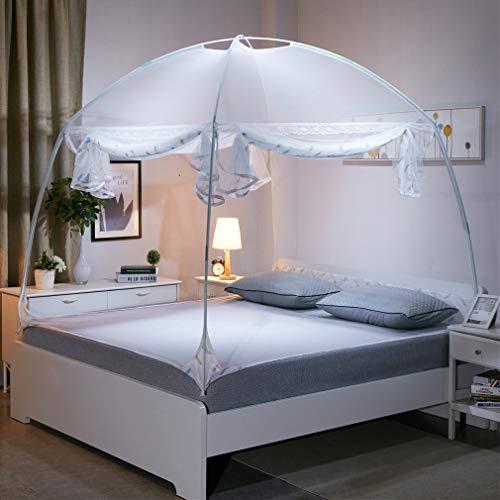 GLITZFAS Moskitonetz Automatik Bett Baldachin Pop Up Mobiler Insektenschutz Faltbare Doppelte Fliegengitter Tür Anti Mosquito Bites (Weiß)