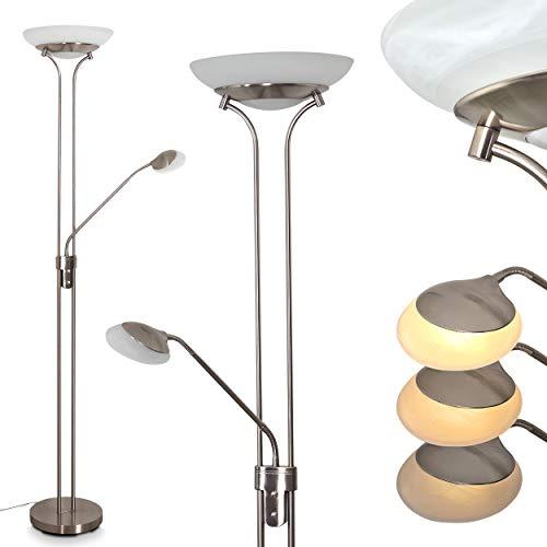 LED Stehleuchte Mairoa, Bodenlampe aus Metall in Nickel matt, moderne Stehlampe mit An-/Ausschalter am Gehäuse und stufenlos dimmbar, 1 x LED 27 Watt, max. 3150 Lumen, 3000 Kelvin, mit Lesearm