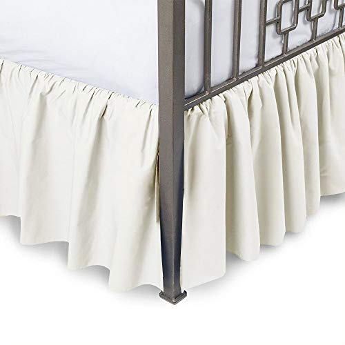 British Choice Linen Frilled Valance sheet (35) CM Pocket Drop Bed Wrap with Platform split corners ruffle bed skirt Easy Fit over Mattress (Double size Bed Fitted Valance Sheet Ivory)