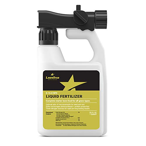 Complete Starter 8-16-8 Liquid Fertilizer (32oz Ready to Spray) with Sulfur - Ideal Nutrient Lawn Food for New Seed, Sod, Plugs - Prevents Wilting & Transplant Shock Losses, Safe for All Grass Types