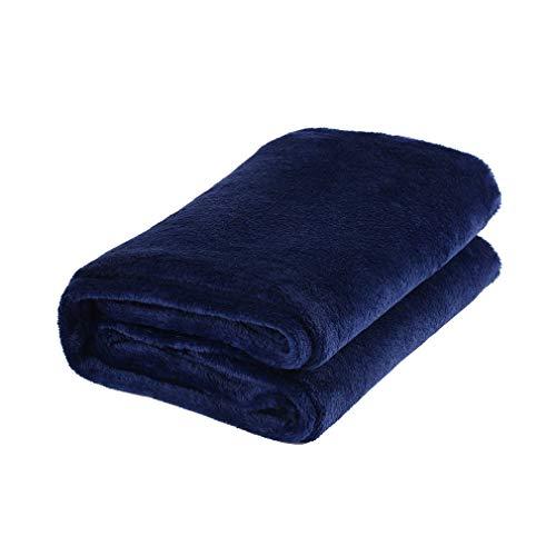 YLWL Manta Suave de Color sólido, Material de Lana de Coral, Manta pequeña para el hogar, Adecuada para sofá, Oficina, Coche, Manta (Azul Oscuro)
