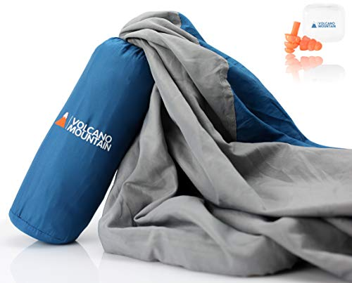 Volcano Mountain Sleeping Bag Liner Lightweight | Soft Sleep Sack Adult Travel | Comfortable Travel Sheet Sleep Sack for Camping and Hotels | Has Velcro Pocket, XL Pillow Pocket, Easy Grab Zipper.