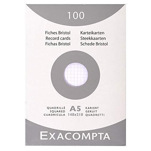 Exacompta 13208B Packung mit 100 Karteikarten, DIN A5, kariert, ideal für Notizen, Weiß, 1 Pack