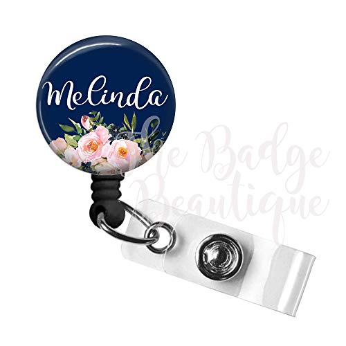 Badge Reel, Custom Retractable ID Tag, Personalized Cute Nurse Gift, Swivel Alligator Clip, 34in. Nylon Cord, Medical MD RN Badge ID Holder, Badge Pull, Office Employee Name Tag - Navy Floral