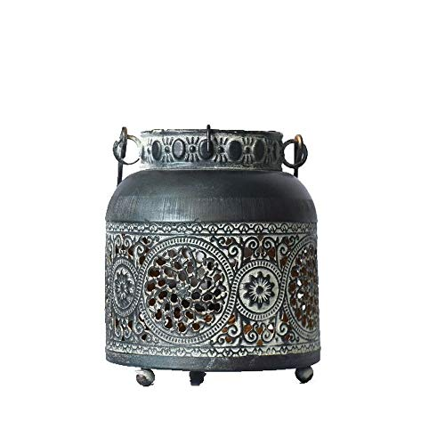 Doing Old Iron Carved Hollow Candleholders Wind Lamp Set Decoration, Garden Balcony Decoration Candleholders
