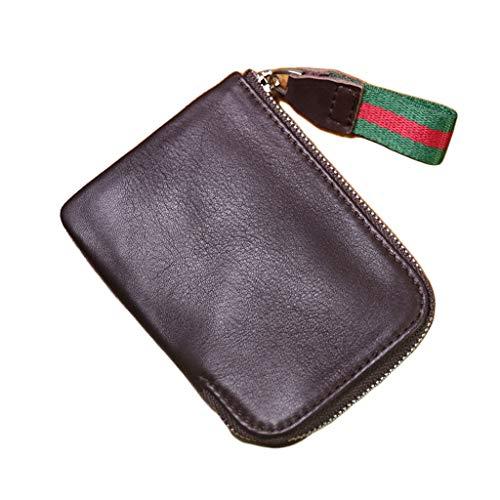 GDSSX Monedero de Cuero Genuino para Hombre, Billetera Corta, Bolsillo de Monedas de Cremallera compacta Suave Minimalista (Color : Dark Brown)