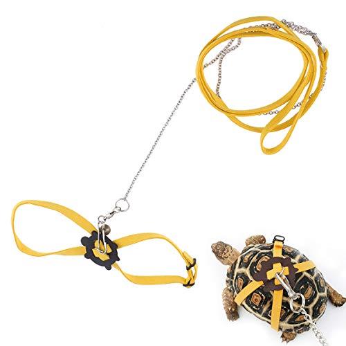 POPETPOP Arnés para Mascotas Reptil Correa Tortuga Lagarto Entrenamiento Ajustable al Aire Libre Correa Suave Tamaño S (Amarillo)